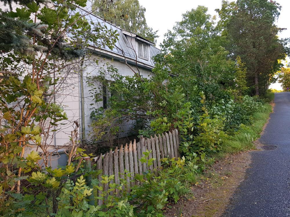 Gammalt hus i vildvuxen trädgård